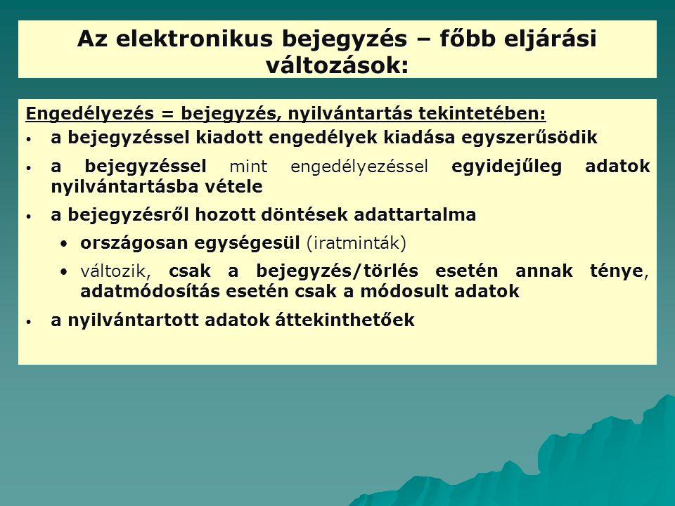 Az elektronikus bejegyzés – főbb eljárási változások:
