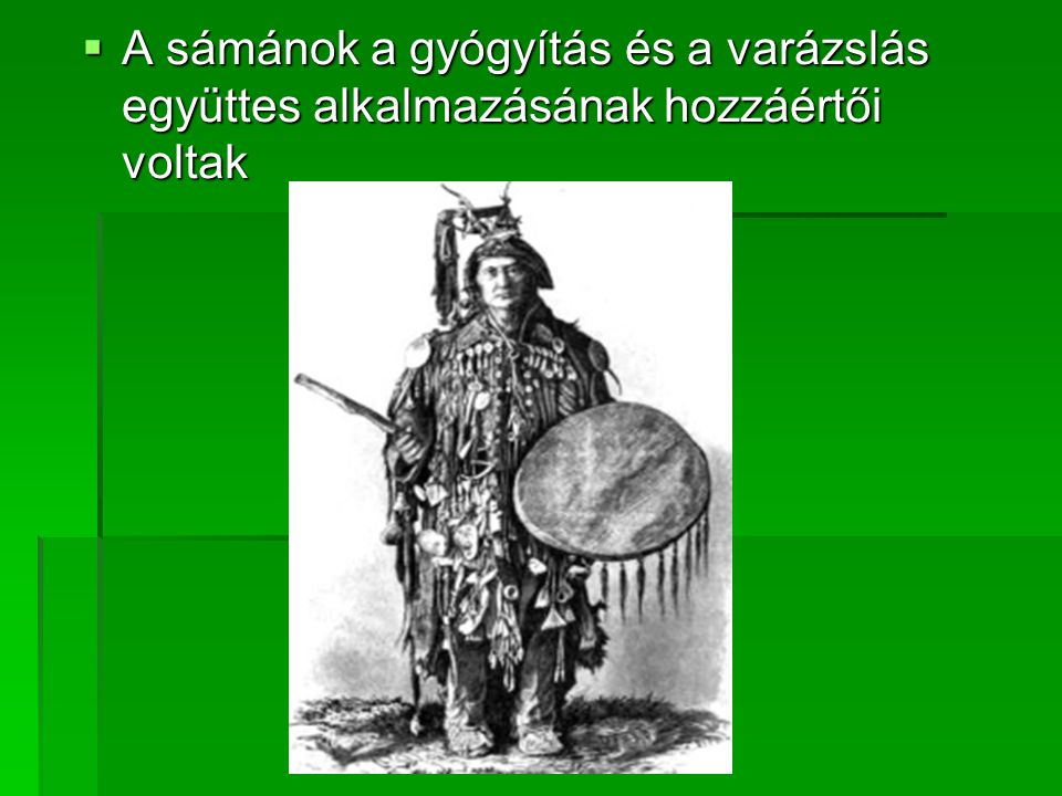 A sámánok a gyógyítás és a varázslás együttes alkalmazásának hozzáértői voltak