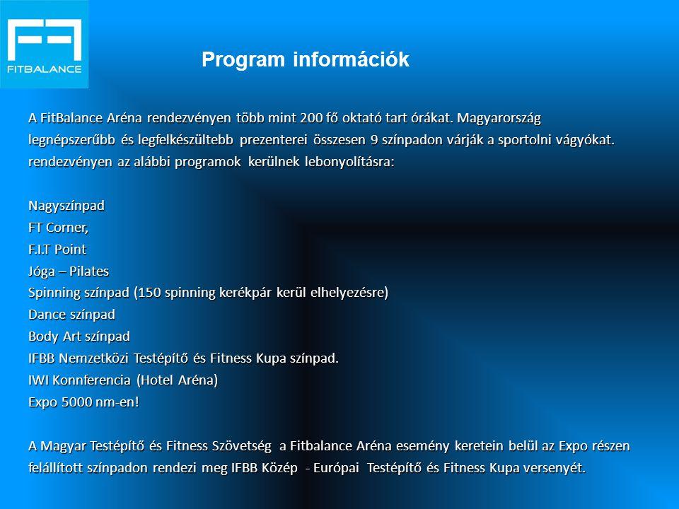 Program információk A FitBalance Aréna rendezvényen több mint 200 fő oktató tart órákat. Magyarország.