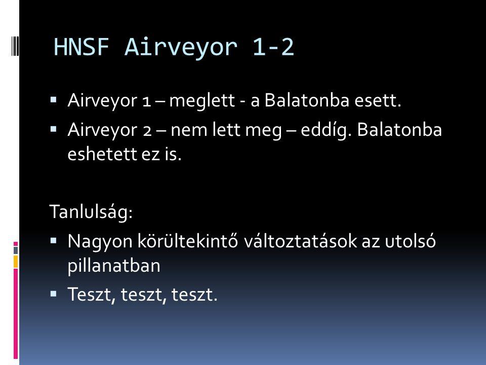 HNSF Airveyor 1-2 Airveyor 1 – meglett - a Balatonba esett.