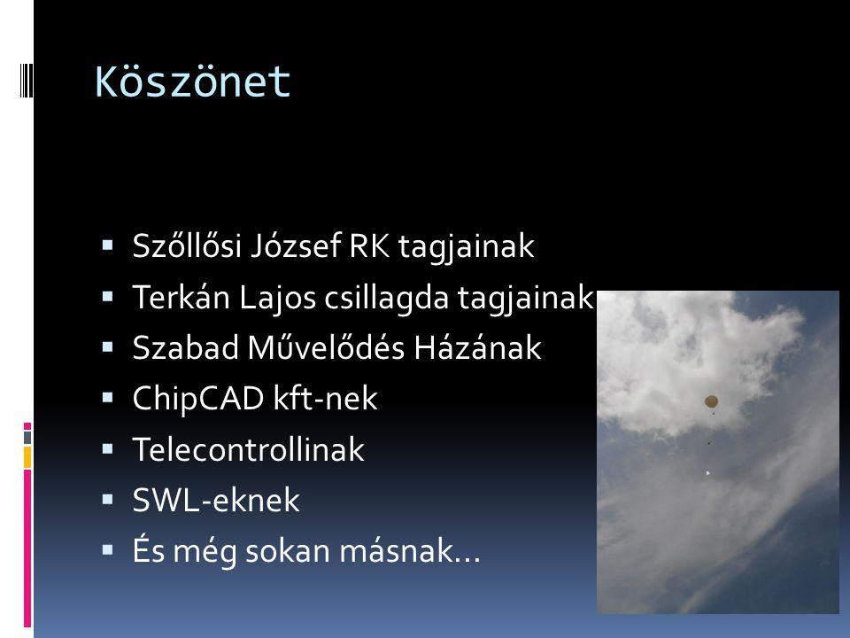 Köszönet Szőllősi József RK tagjainak Terkán Lajos csillagda tagjainak