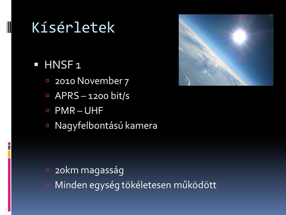 Kísérletek HNSF 1 2010 November 7 APRS – 1200 bit/s PMR – UHF