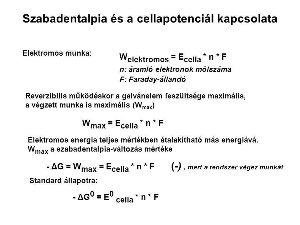 Szabadentalpia és a cellapotenciál kapcsolata