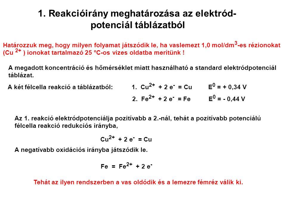 Reakcióirány meghatározása az elektród- potenciál táblázatból