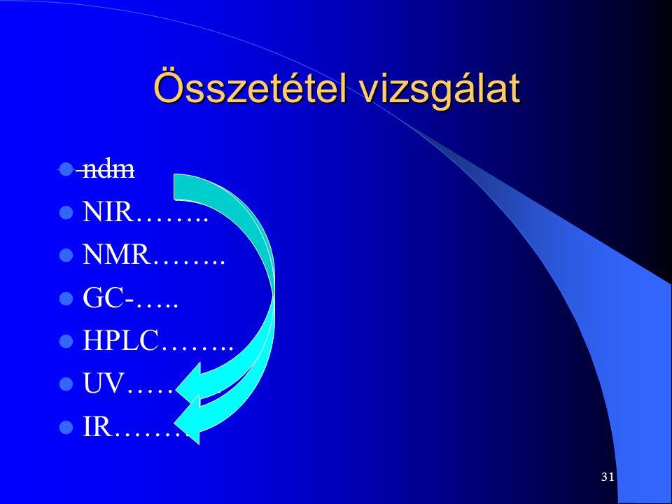 Összetétel vizsgálat ndm NIR…….. NMR…….. GC-….. HPLC…….. UV………. IR………