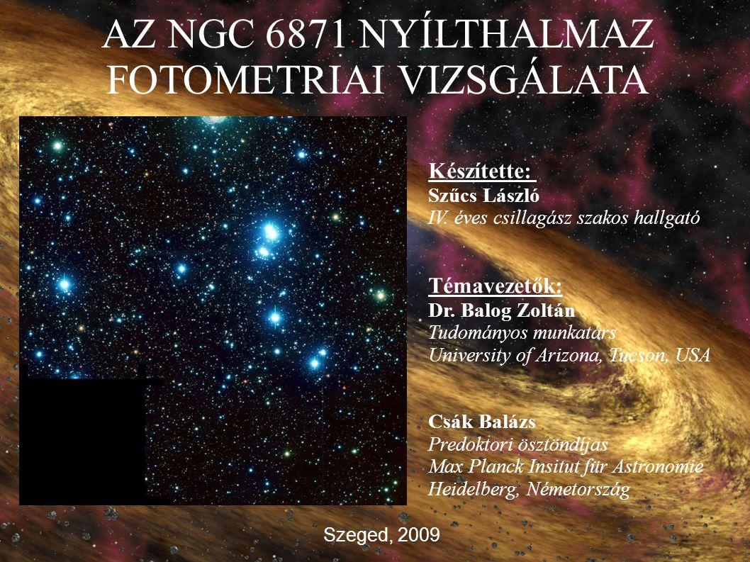 AZ NGC 6871 NYÍLTHALMAZ FOTOMETRIAI VIZSGÁLATA