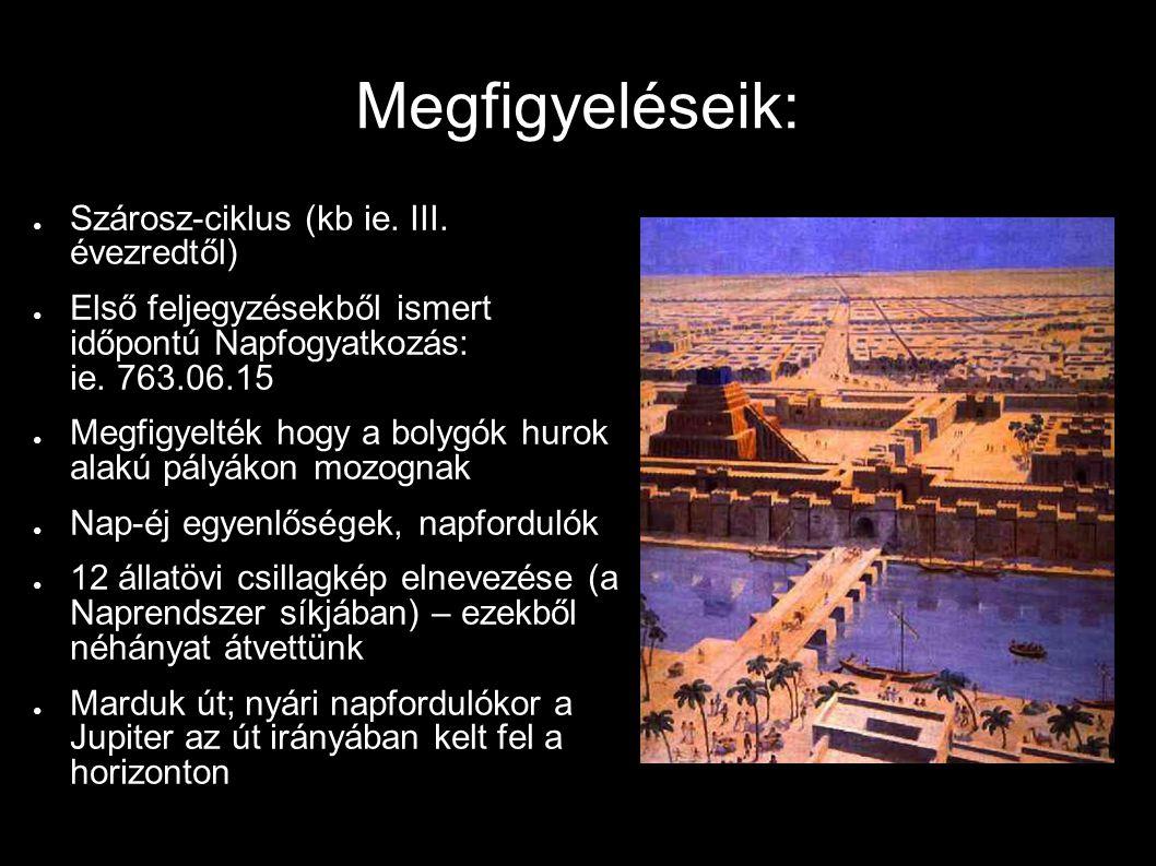 Megfigyeléseik: Szárosz-ciklus (kb ie. III. évezredtől)