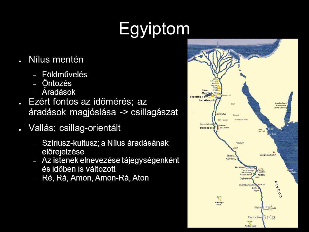 Egyiptom Nílus mentén. Földművelés. Öntözés. Áradások. Ezért fontos az időmérés; az áradások magjóslása -> csillagászat.