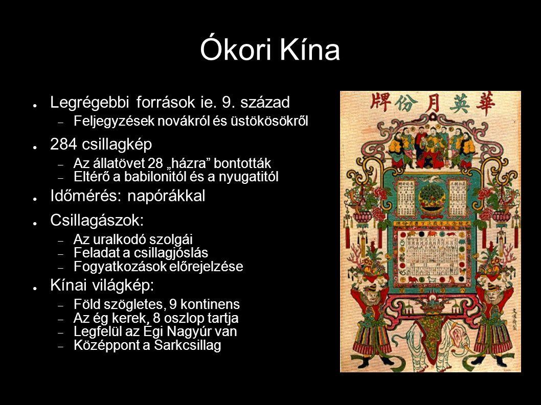 Ókori Kína Legrégebbi források ie. 9. század 284 csillagkép