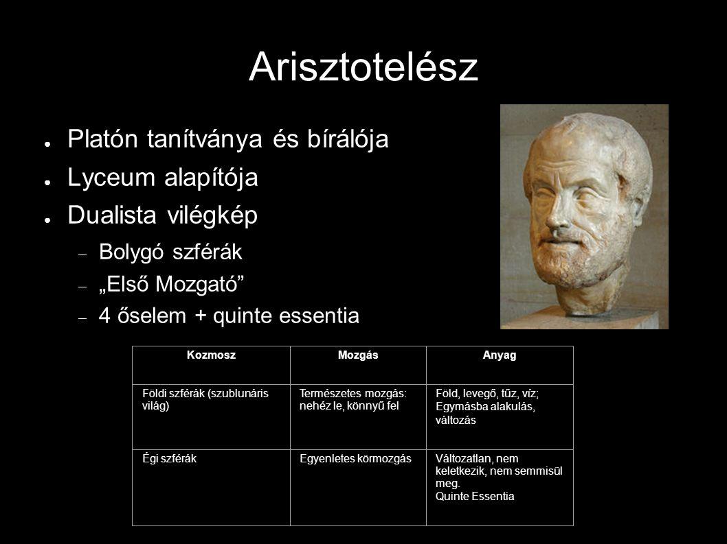 Arisztotelész Platón tanítványa és bírálója Lyceum alapítója