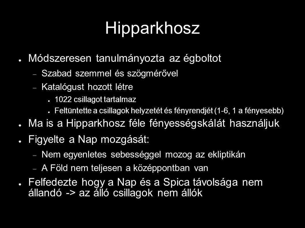 Hipparkhosz Módszeresen tanulmányozta az égboltot