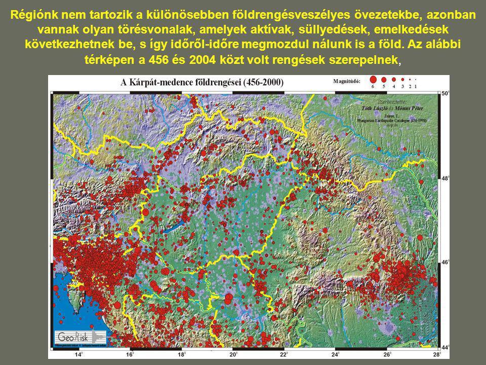 Régiónk nem tartozik a különösebben földrengésveszélyes övezetekbe, azonban vannak olyan törésvonalak, amelyek aktívak, süllyedések, emelkedések következhetnek be, s így időről-időre megmozdul nálunk is a föld.