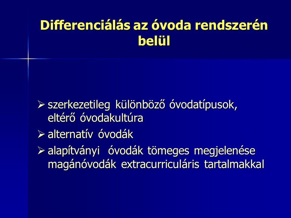 Differenciálás az óvoda rendszerén belül