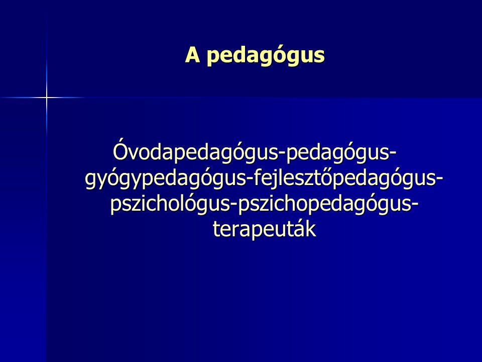 A pedagógus Óvodapedagógus-pedagógus-gyógypedagógus-fejlesztőpedagógus-pszichológus-pszichopedagógus-terapeuták.