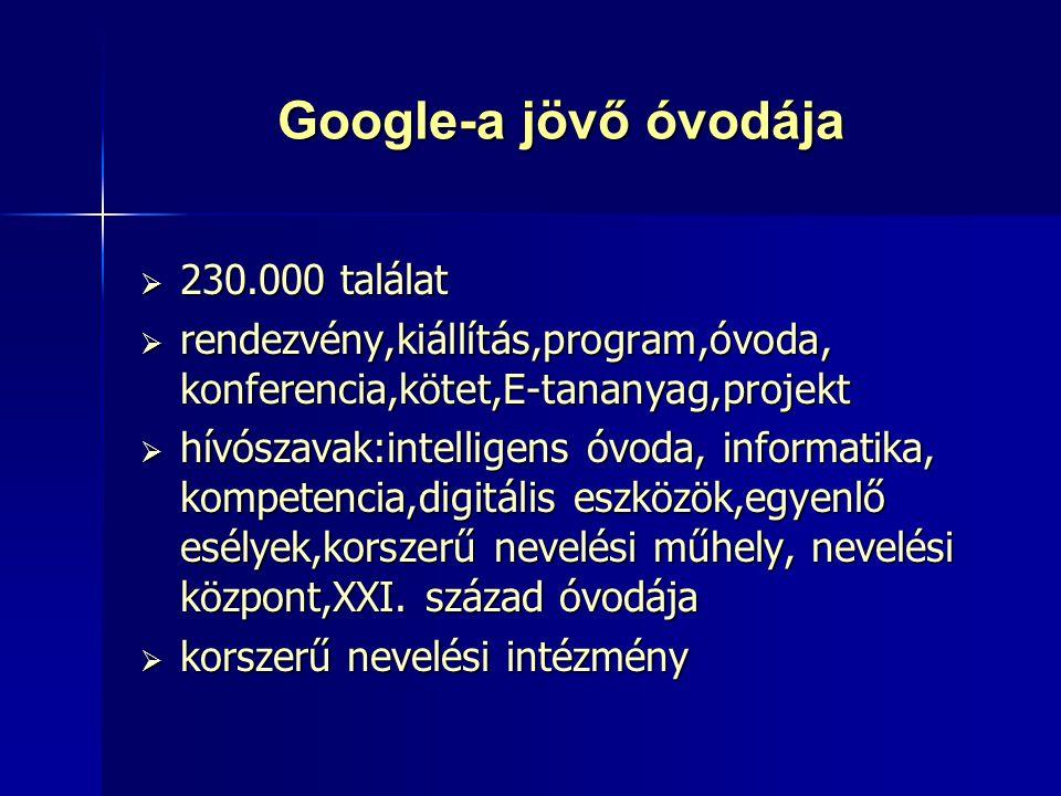 Google-a jövő óvodája 230.000 találat