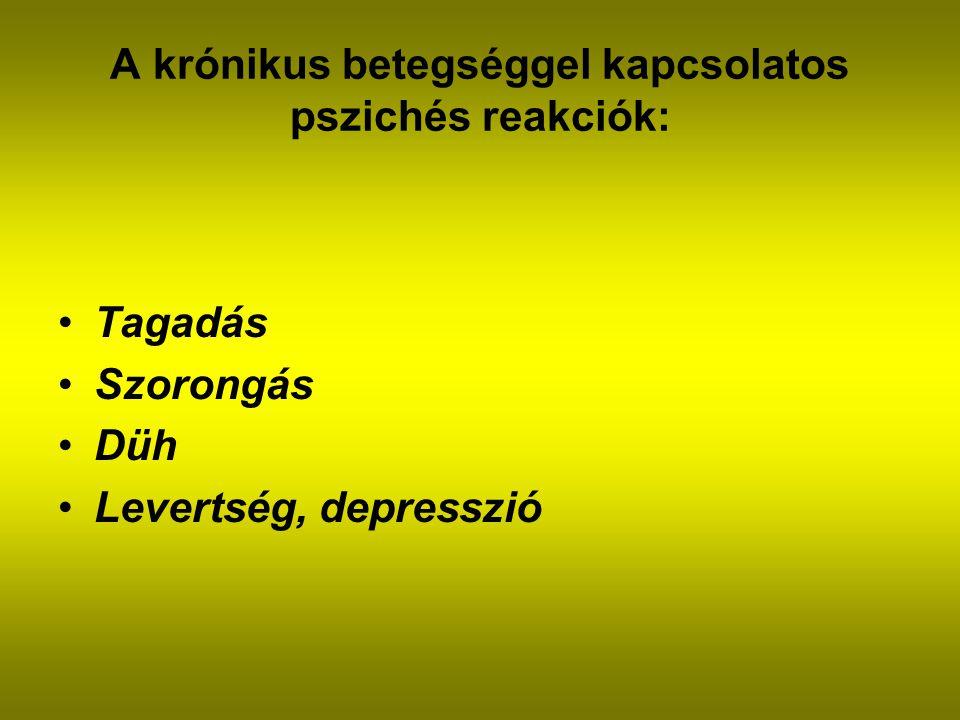 A krónikus betegséggel kapcsolatos pszichés reakciók: