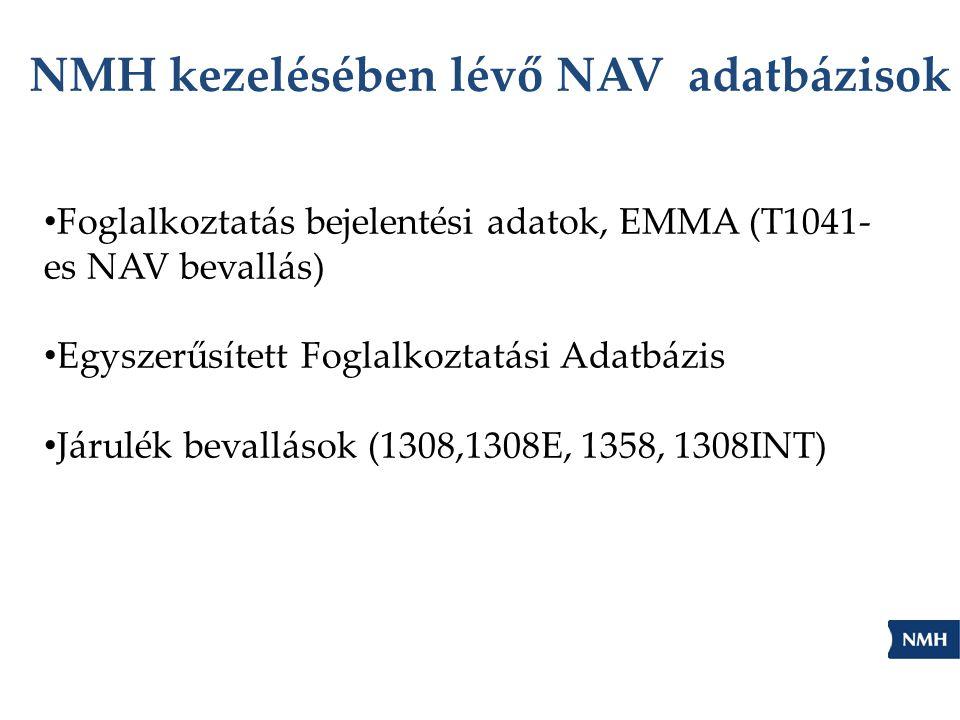NMH kezelésében lévő NAV adatbázisok