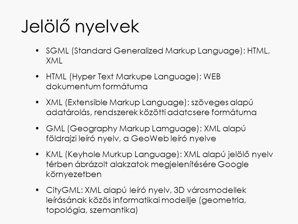 Jelölő nyelvek SGML (Standard Generalized Markup Language): HTML, XML