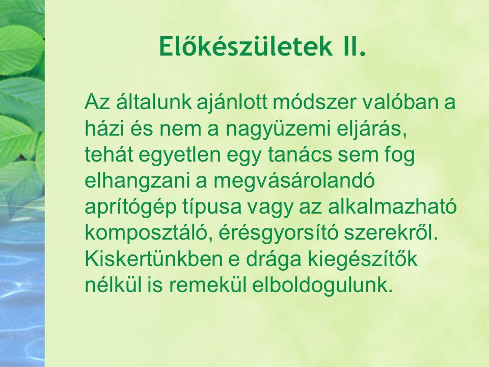 Előkészületek II.