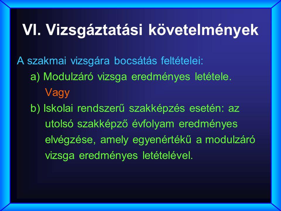 VI. Vizsgáztatási követelmények