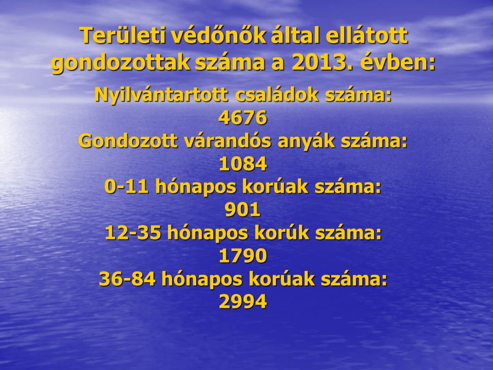Területi védőnők által ellátott gondozottak száma a 2013. évben: