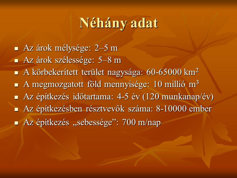 Néhány adat Az árok mélysége: 2–5 m Az árok szélessége: 5–8 m