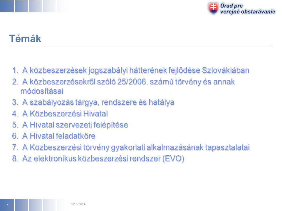 A közbeszerzések jogszabályi hátterének fejlődése Szlovákiában