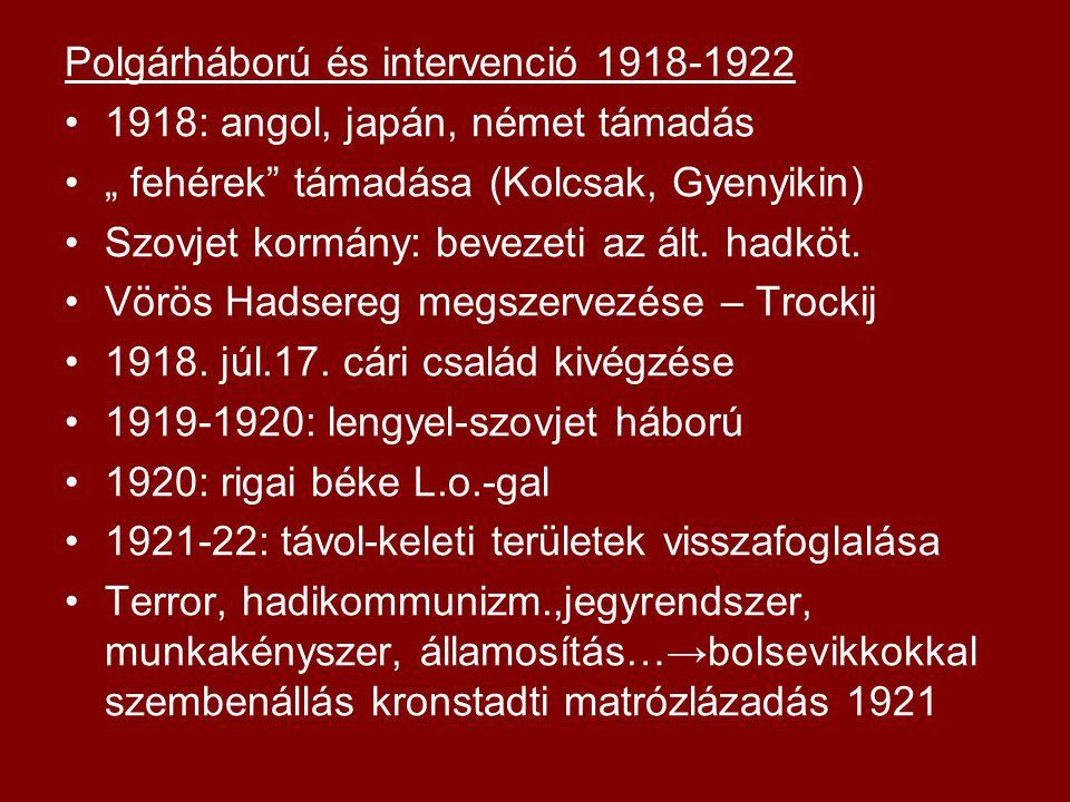 Polgárháború és intervenció 1918-1922