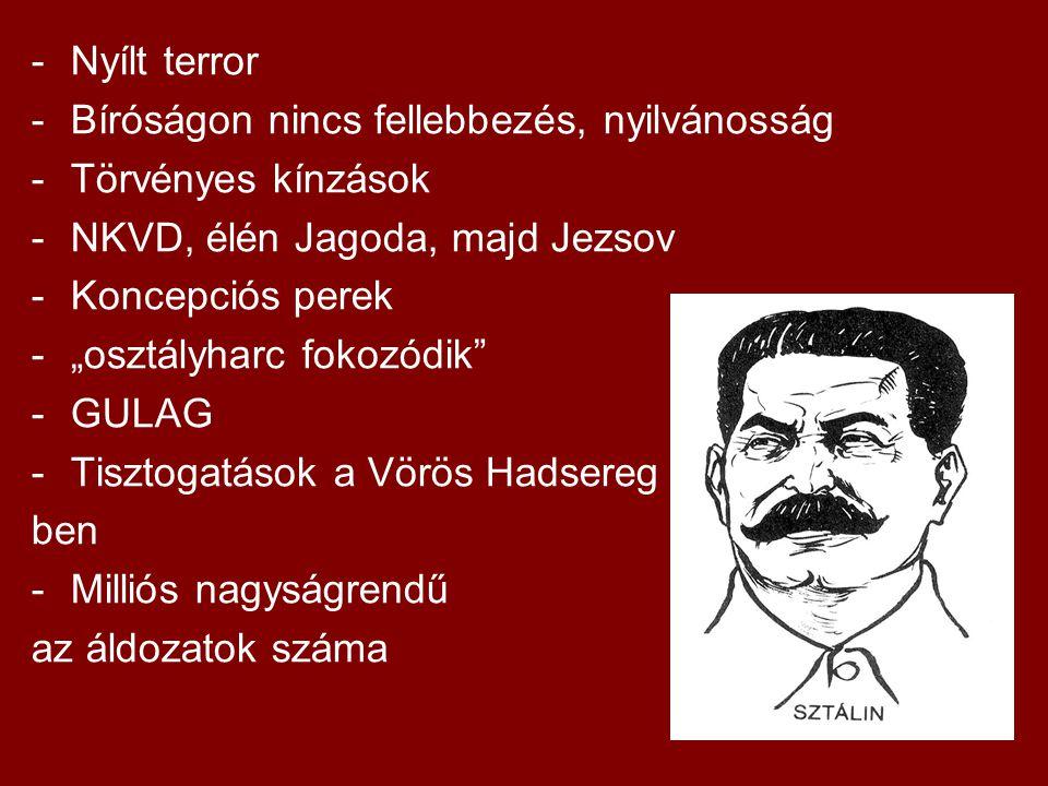Nyílt terror Bíróságon nincs fellebbezés, nyilvánosság. Törvényes kínzások. NKVD, élén Jagoda, majd Jezsov.