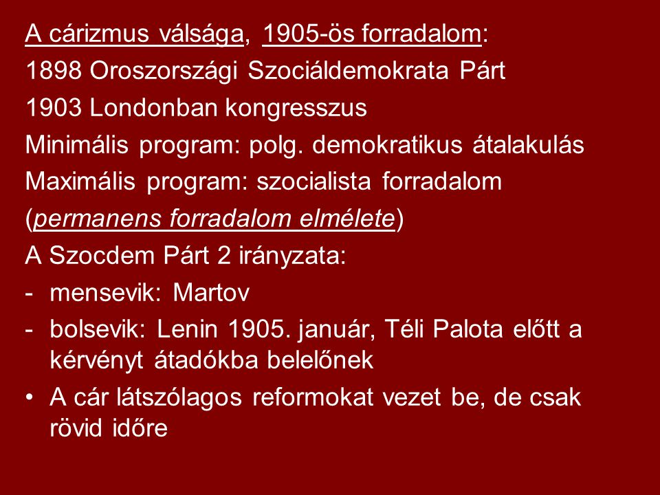 A cárizmus válsága, 1905-ös forradalom: