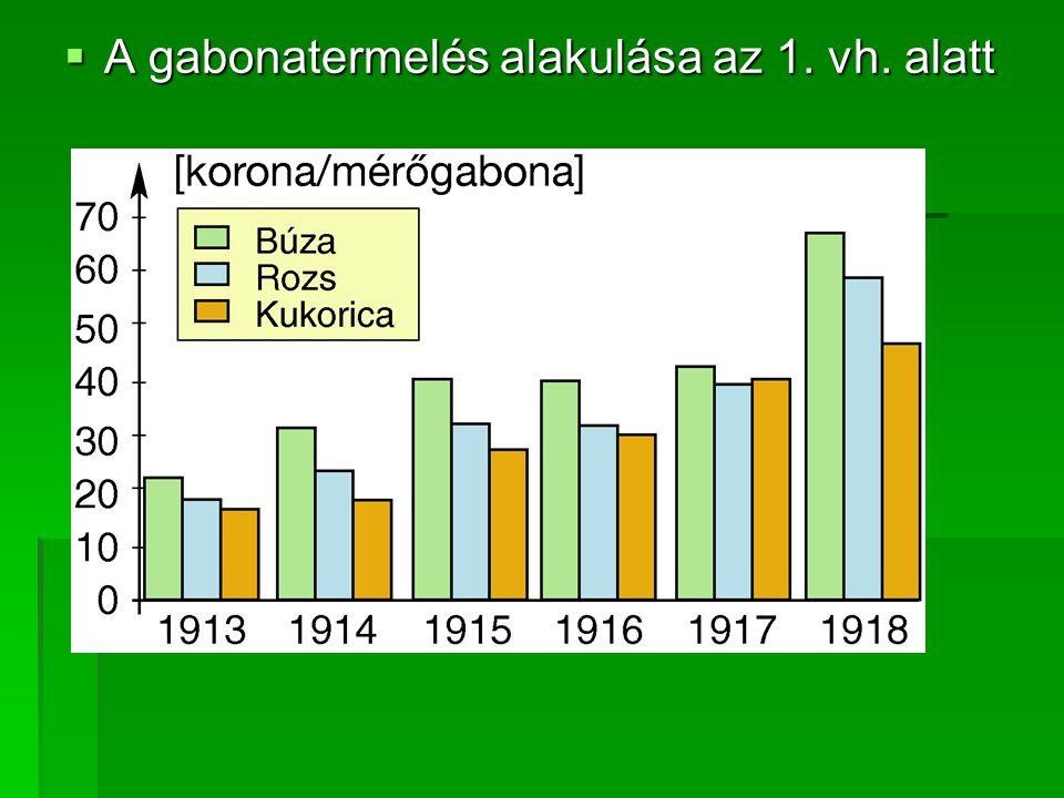 A gabonatermelés alakulása az 1. vh. alatt