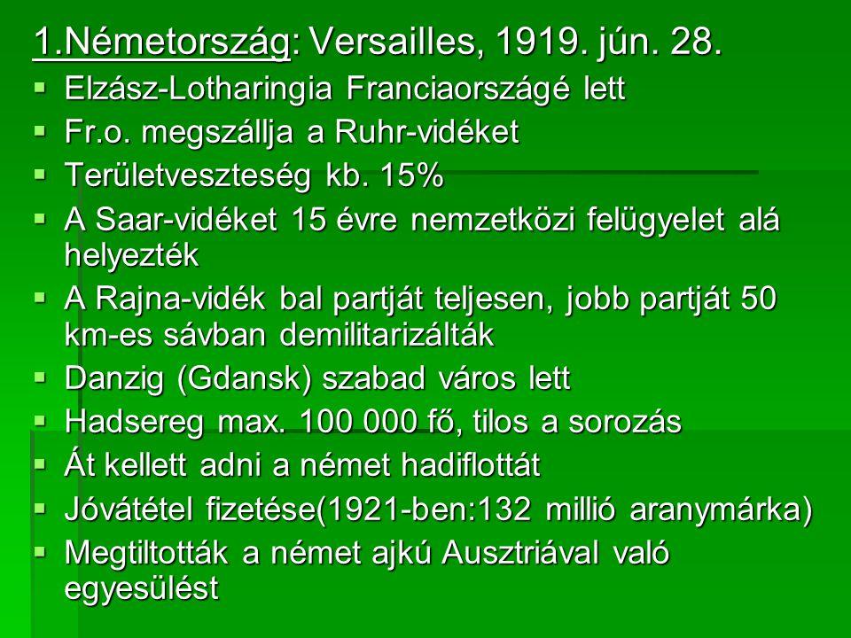 1.Németország: Versailles, 1919. jún. 28.
