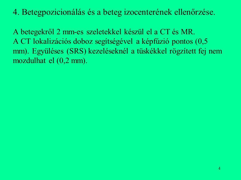 4. Betegpozicionálás és a beteg izocenterének ellenőrzése