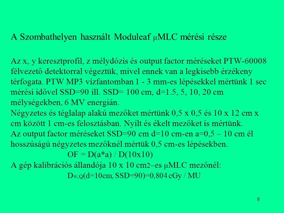 A Szombathelyen használt Moduleaf μMLC mérési része Az x, y keresztprofil, z mélydózis és output factor méréseket PTW-60008 félvezető detektorral végeztük, mivel ennek van a legkisebb érzékeny térfogata.