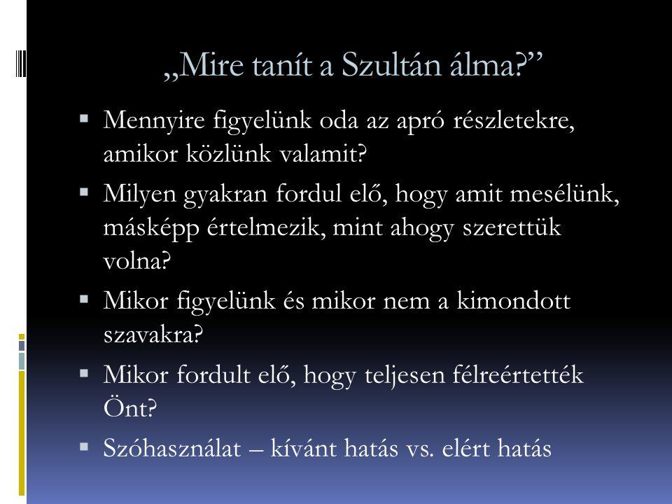 """""""Mire tanít a Szultán álma"""