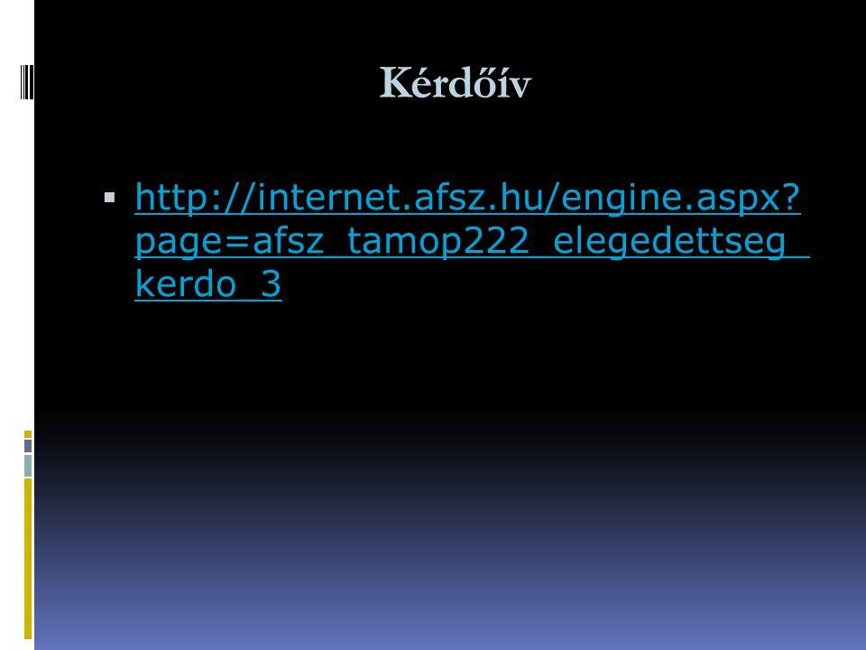 Kérdőív http://internet.afsz.hu/engine.aspx page=afsz_tamop222_elegedettseg_ kerdo_3