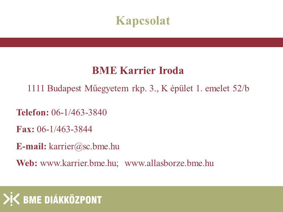 1111 Budapest Műegyetem rkp. 3., K épület 1. emelet 52/b