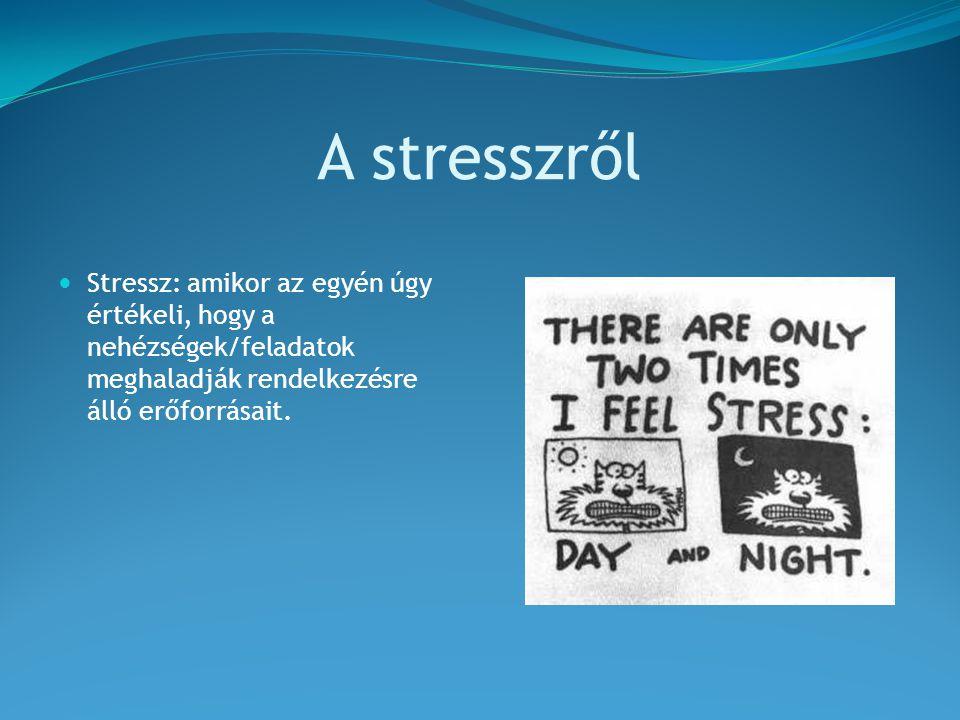 A stresszről Stressz: amikor az egyén úgy értékeli, hogy a nehézségek/feladatok meghaladják rendelkezésre álló erőforrásait.