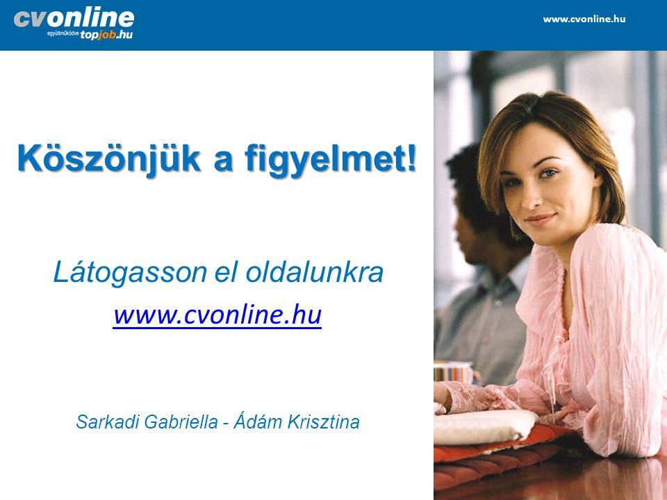 Köszönjük a figyelmet! Látogasson el oldalunkra www.cvonline.hu