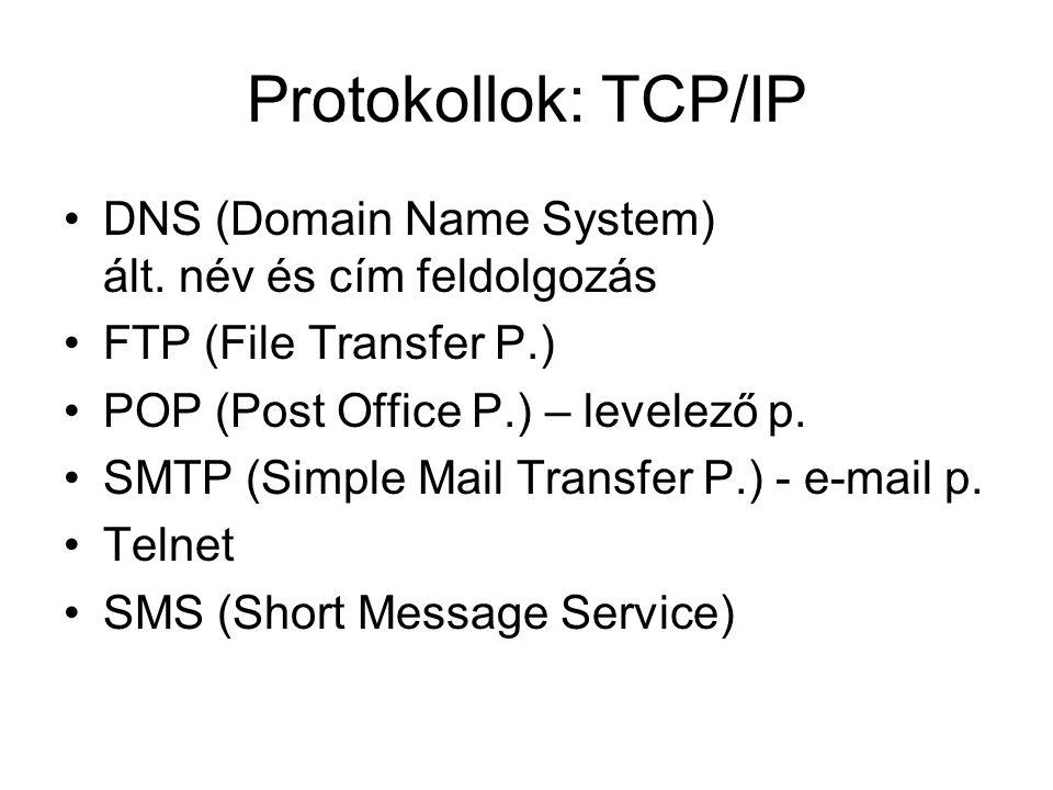 Protokollok: TCP/IP DNS (Domain Name System) ált. név és cím feldolgozás. FTP (File Transfer P.) POP (Post Office P.) – levelező p.