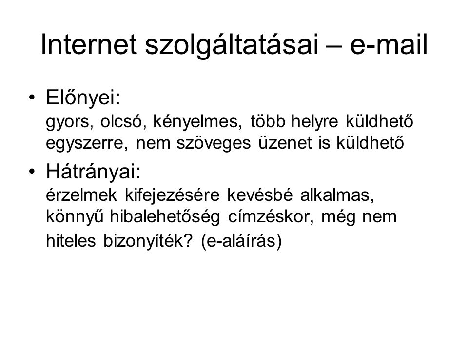 Internet szolgáltatásai – e-mail