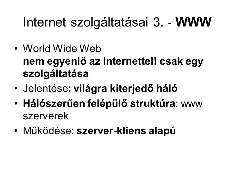 Internet szolgáltatásai 3. - WWW