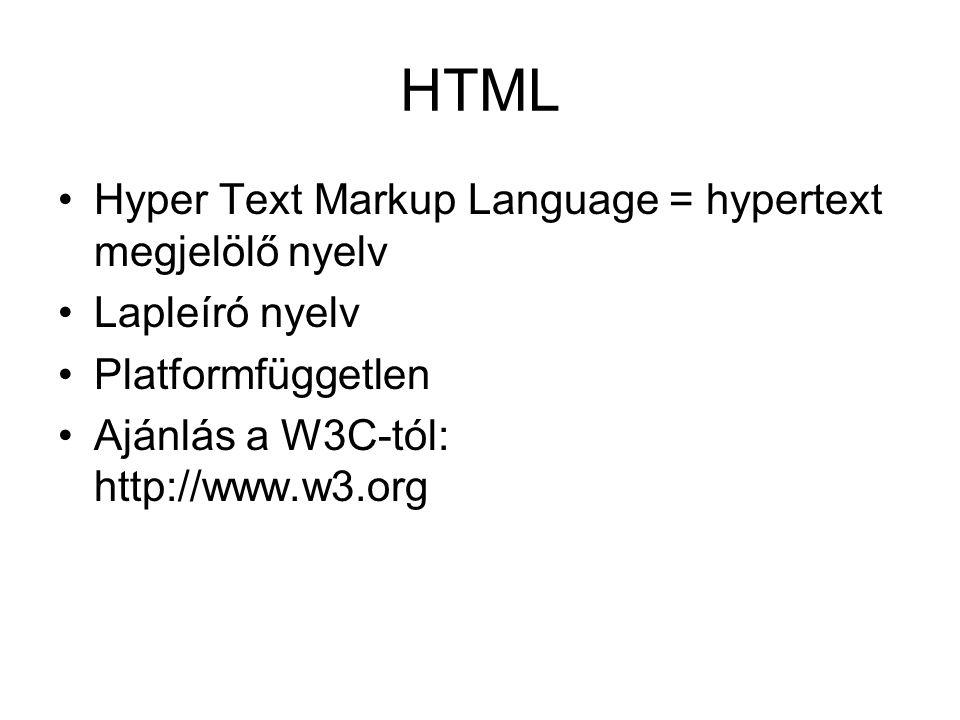 HTML Hyper Text Markup Language = hypertext megjelölő nyelv