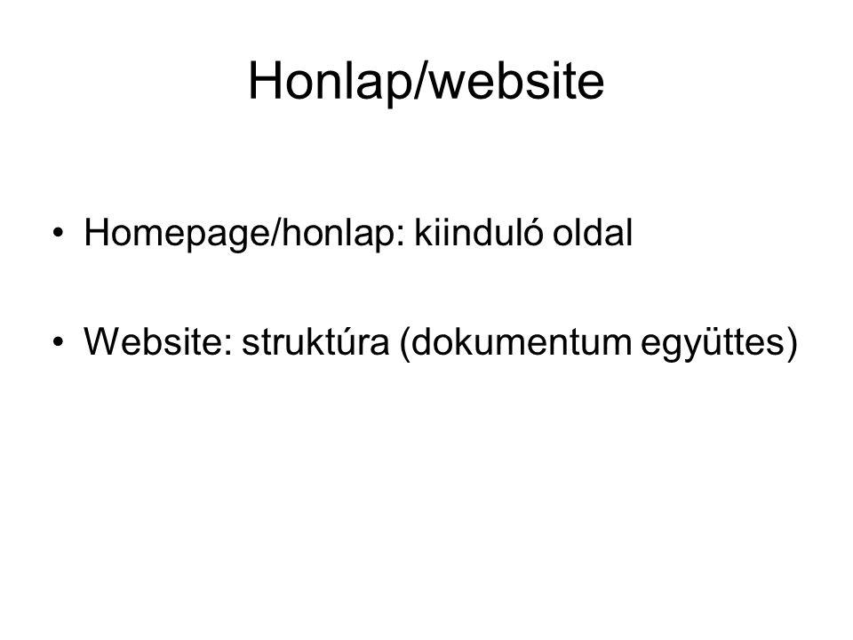 Honlap/website Homepage/honlap: kiinduló oldal