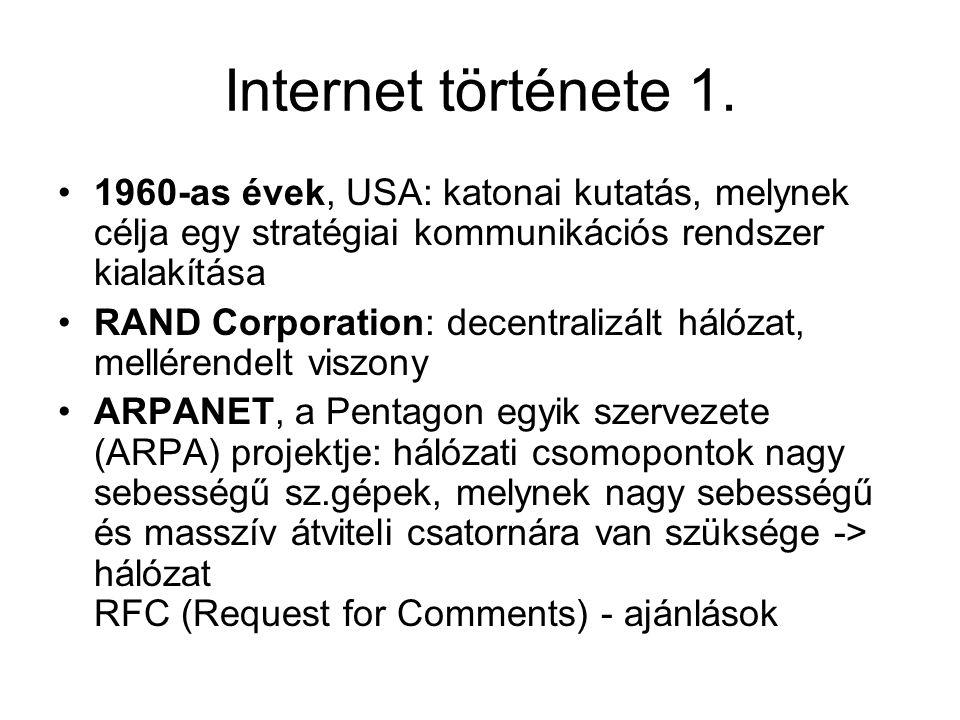 Internet története 1. 1960-as évek, USA: katonai kutatás, melynek célja egy stratégiai kommunikációs rendszer kialakítása.