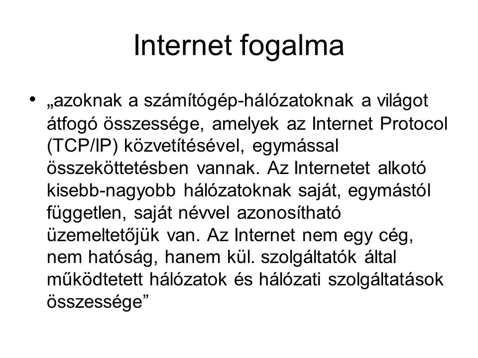 Internet fogalma