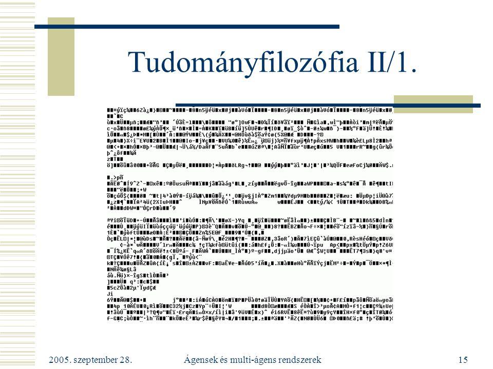 Tudományfilozófia II/1.