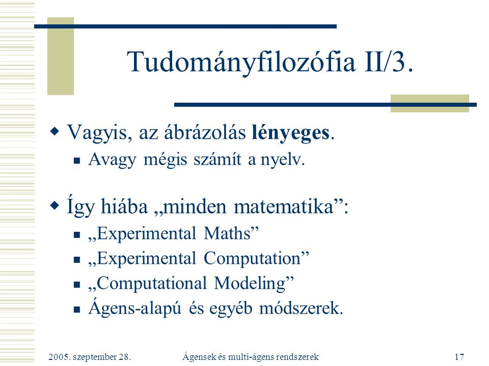 Tudományfilozófia II/3.