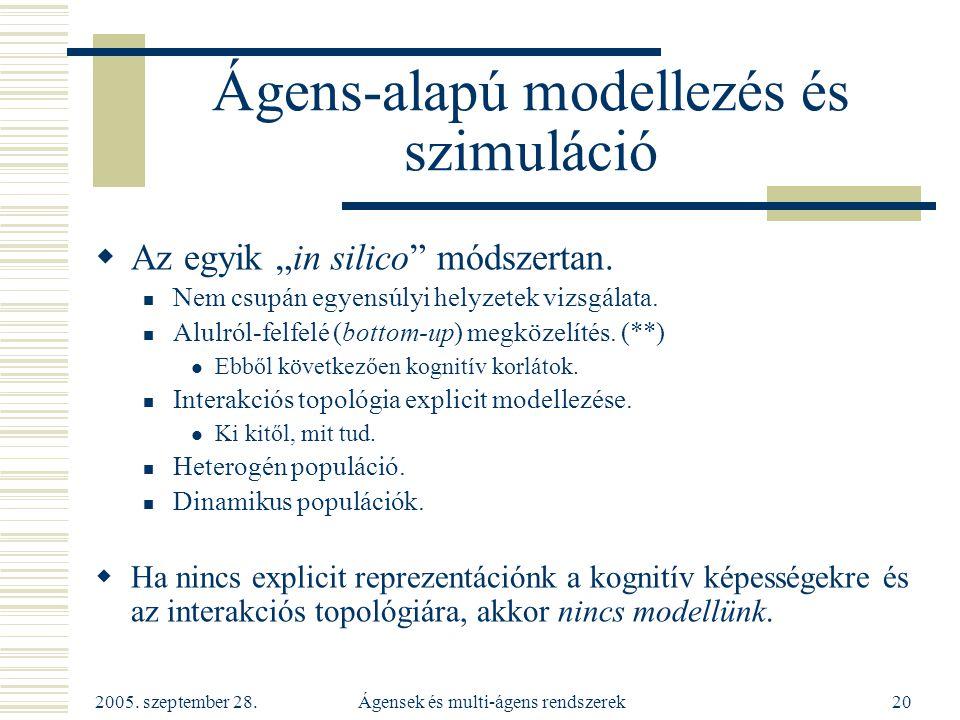 Ágens-alapú modellezés és szimuláció