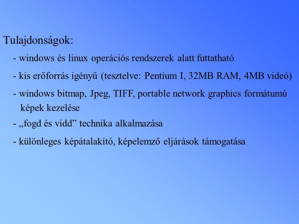 Tulajdonságok: - windows és linux operációs rendszerek alatt futtatható. - kis erőforrás igényű (tesztelve: Pentium I, 32MB RAM, 4MB videó)
